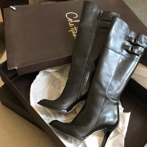 Cole Haan black leather tall stiletto boots